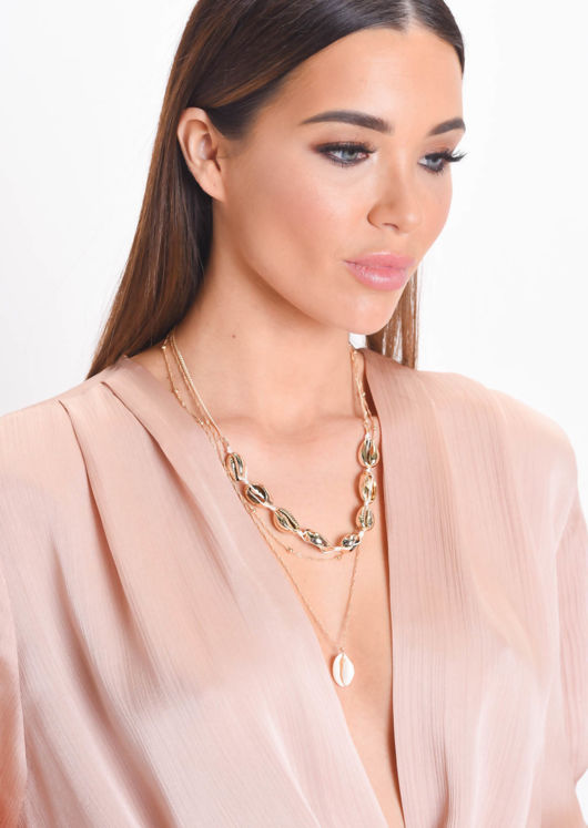 Shell Three Strand Layered Necklace Gold