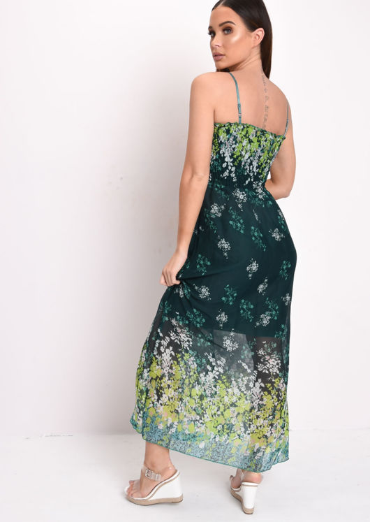 Shirred Bodice Printed Maxi Dress Green