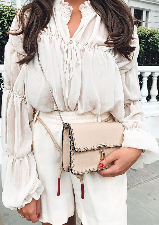 Shirred Collar Ruffle Sleeve Sheer Blouse Beige