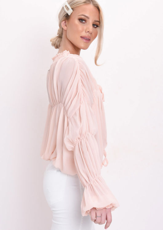 Shirred Collar Ruffle Sleeve Sheer Blouse Coral Pink