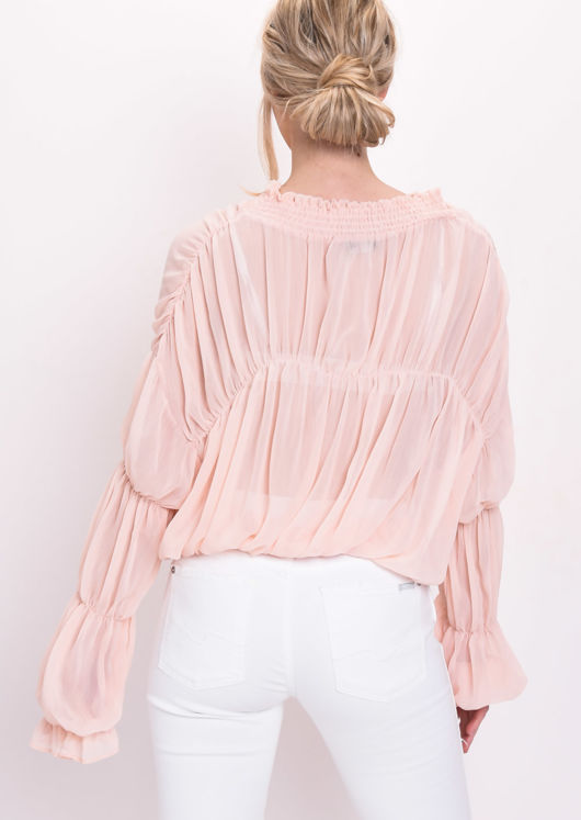 Shirred Collar Ruffle Sleeve Sheer Blouse Coral Pink