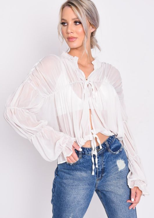Shirred Collar Ruffle Sleeve Sheer Blouse White