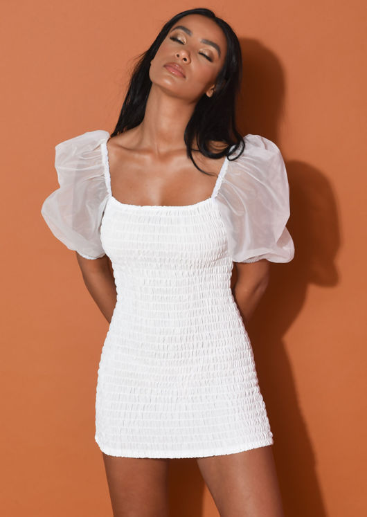 Shirred Organza Puff Sleeve Square Neck Mini Dress White