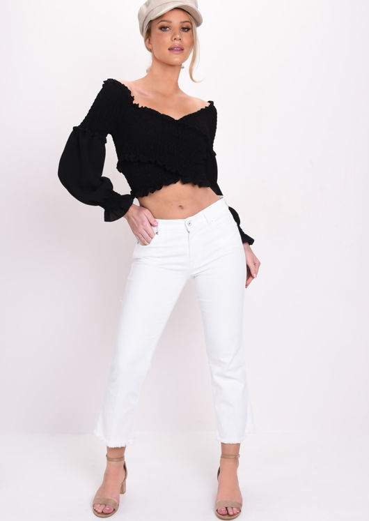 Shirred Wrap Over Ruffle Long Sleeve Crop Top Black
