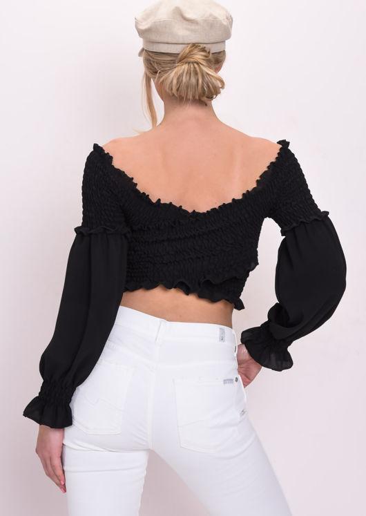Shirred Wrap Over Ruffle Long Sleeve Crop Top Black