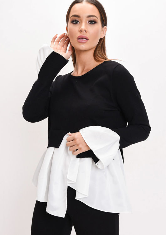 Shirt Hem Knit Jumper Black