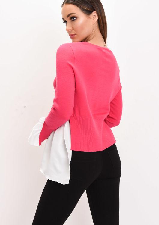 Shirt Hem Knit Jumper Fuchsia Pink