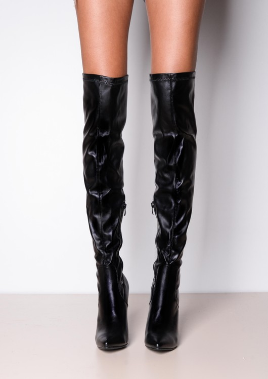 Over The Knee Thigh High Long Faux Leather Pointed Boots Black