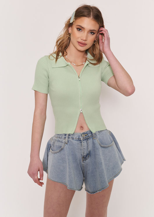 Short Sleeve Knitted Zip Front Ribbed Chunky Collared Cardigan Top Green