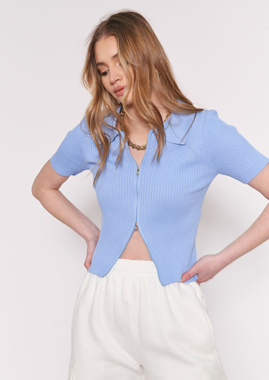 Short Sleeve Knitted Zip Front Ribbed Chunky Collared Cardigan Top Blue