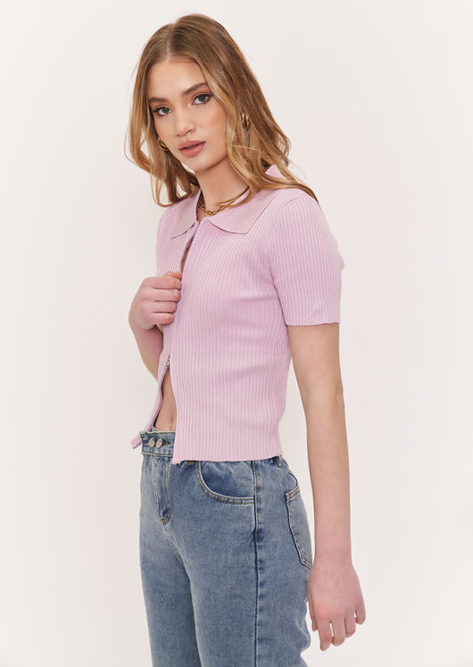 Short Sleeve Knitted Zip Front Ribbed Chunky Collared Cardigan Top Pink