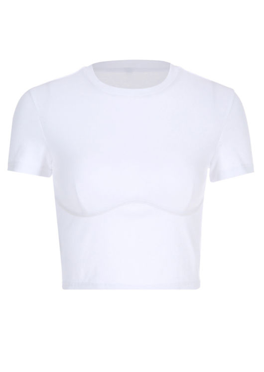 Short Sleeve Ribbed Underbust Crop Top White