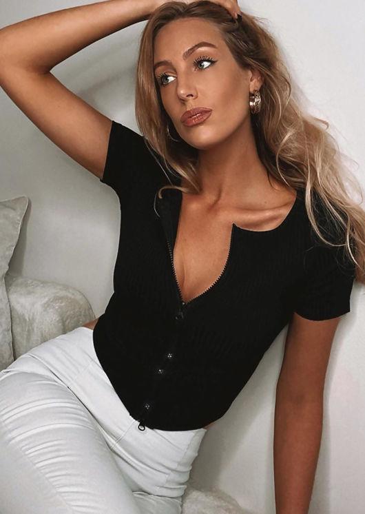 Short Sleeve Zip Front Ribbed Cardigan Top Black