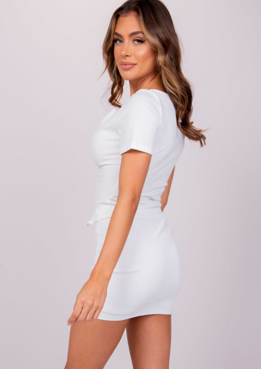 Short Sleeve Zip Front Ribbed Cardigan Top White