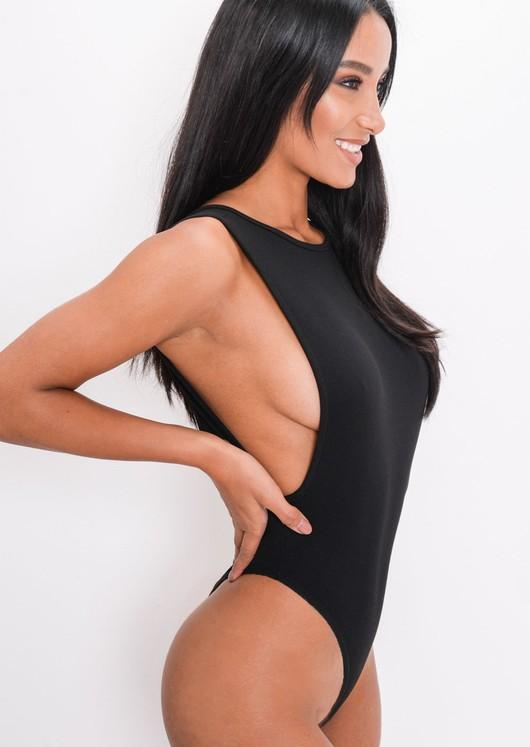 Side Boob Thong Bodysuit Black