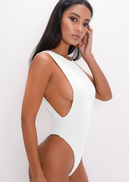 Side Boob Thong Bodysuit White