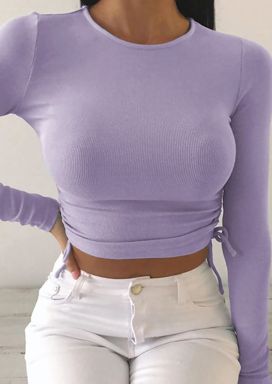 Side Drawstring Ribbed Long Sleeve Crop Top Purple