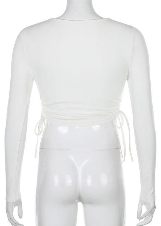 Side Drawstring Ribbed Long Sleeve Crop Top Black