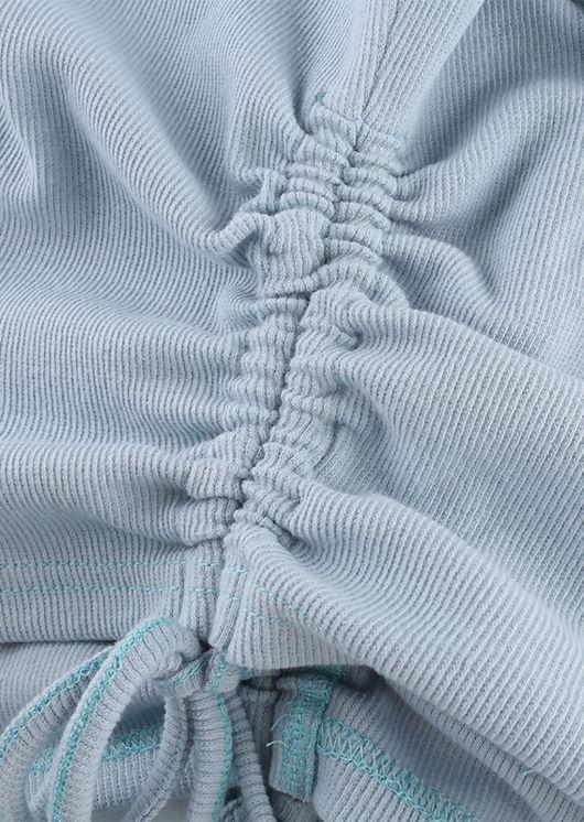 Side Drawstring Ribbed Tank Crop Top Blue