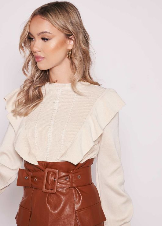 Side Frilled Ribbed Neckline Long Sleeve Sweater Top Beige