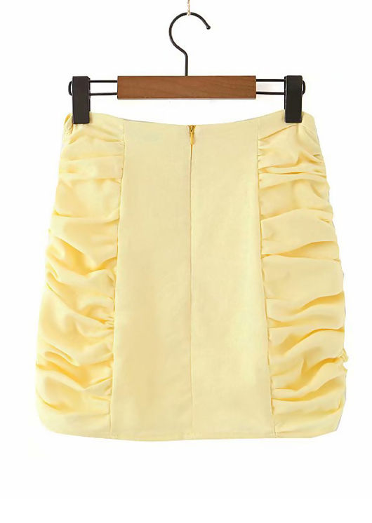 Side Gathered Mini Skirt Yellow