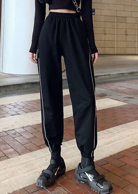 Side Striped High Waisted Jogger Trousers Black