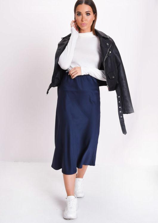fd4e956b5 Satin Midi Skirt Navy Blue | Lily Lulu