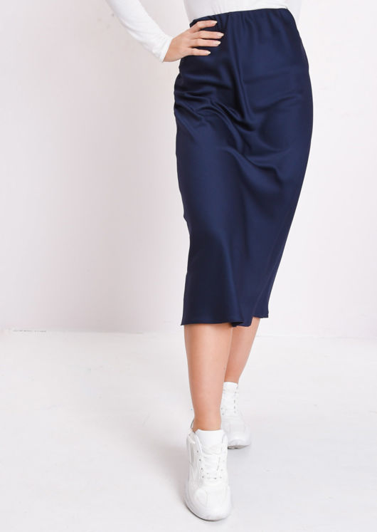 Silky Satin Midi Slip Skirt Navy Blue