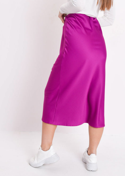 Silky Satin Midi Slip Skirt Pink Purple