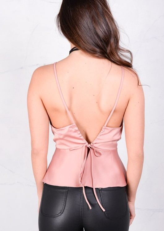 Silky Strapped Tie Back Crop Peplum Top Pink Nude