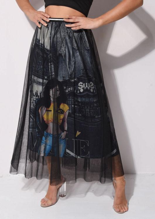 Cartoon Printed Tulle Maxi Skirt Black