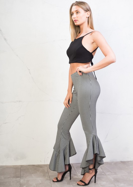 Skinny Cropped Asymmetrical Frill Cigarette Trousers Gingham Black
