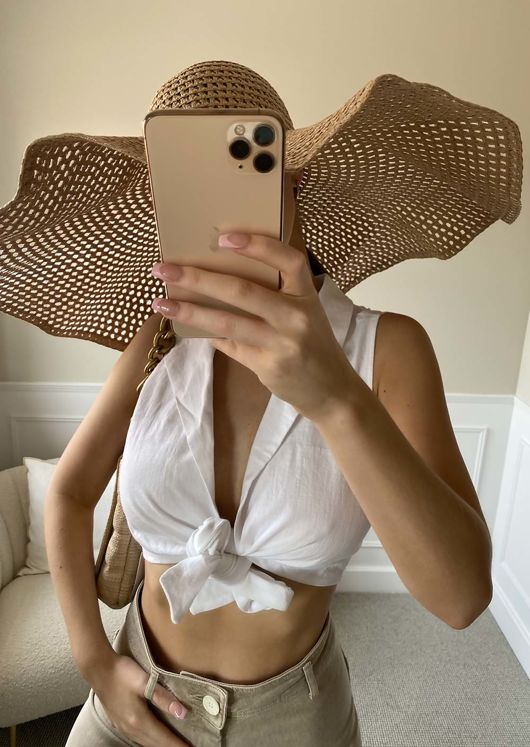 Sleeveless Collared Knot Tie Front Shirt Crop Top White