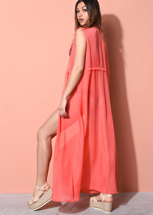 Sleeveless Cover Up Maxi Kimono Coral Pink