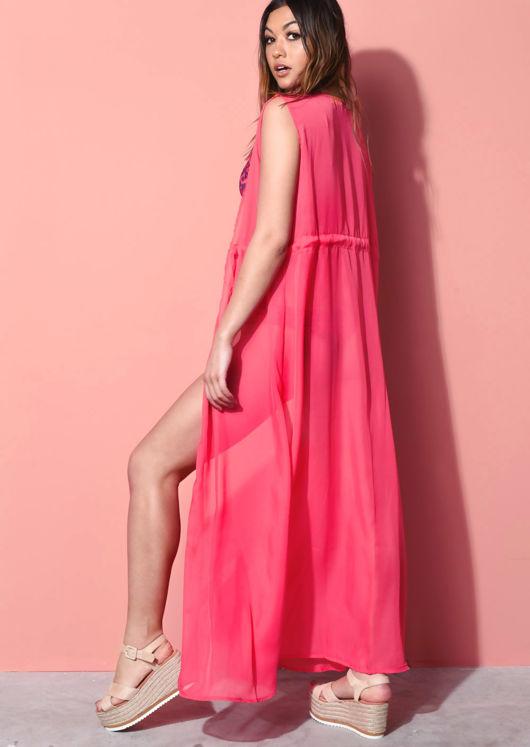 Sleeveless Cover Up Maxi Beach Kimono Fuchsia Pink