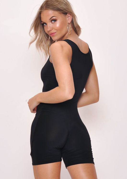 Sleeveless Cycling Unitard Playsuit Black