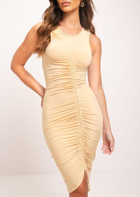 Ruched Side Drawstring Bodycon Midi Dress Beige