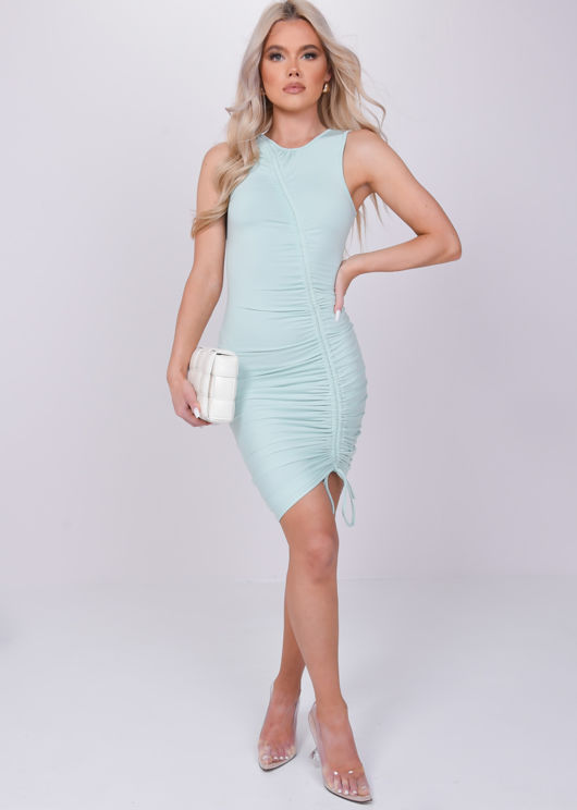 Ruched Side Drawstring Bodycon Midi Dress Green