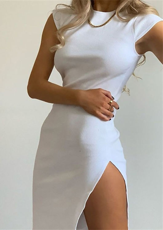 Sleeveless Midi Slit Cut Reveal Dress White