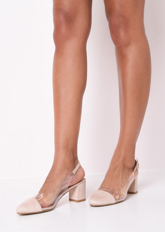 Slingback Suede Perspex Court Block Heeled Sandals Beige