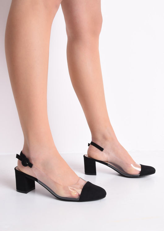Slingback Suede Perspex Court Block Heeled Sandals Black