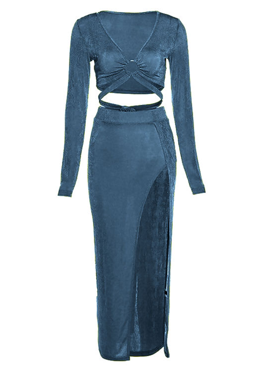 Slinky Front Tie Crop Top And High Waisted Side Split Midi Skirt Co-Ord Set Blue