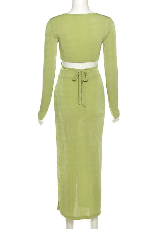 Slinky Front Tie Crop Top And High Waisted Side Split Midi Skirt Co-Ord Set Green