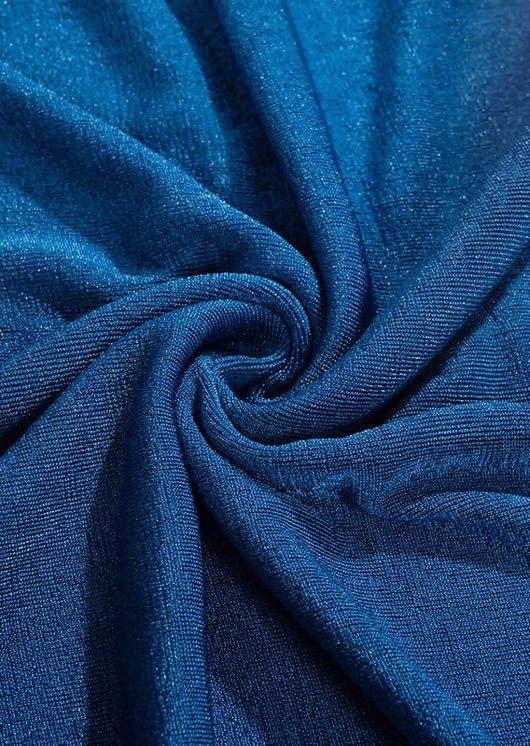 Slinky Halterneck Cut Out Side Split Mini Dress Blue