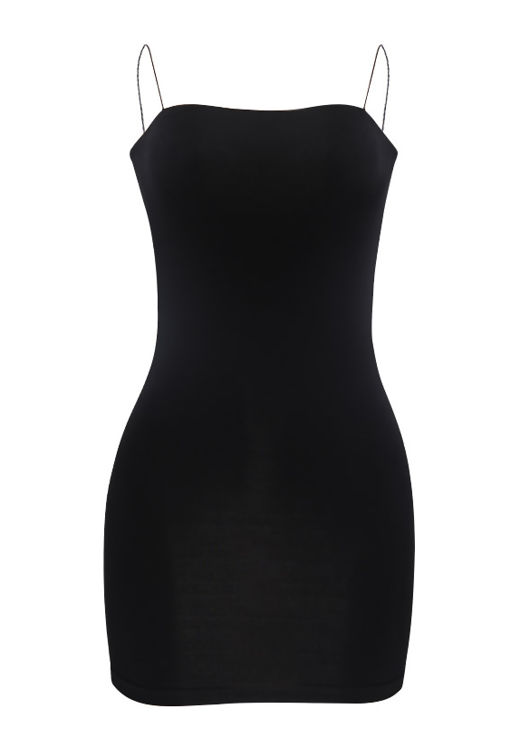 Slinky Strappy Mini Bodycon Dress Black