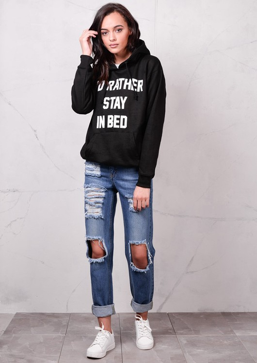 Slogan Id Rather Stay In Bed Hoodie Black