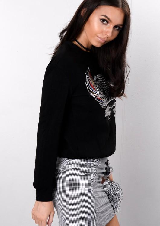 Slogan Sequin Embroidered Sweatshirt Jumper Black