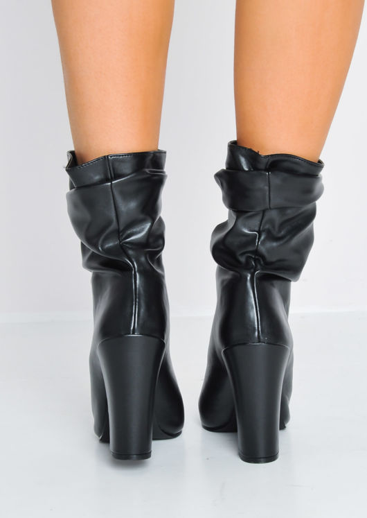 Slouchy Ruched Block Heel Pointed PU Ankle Boots Black