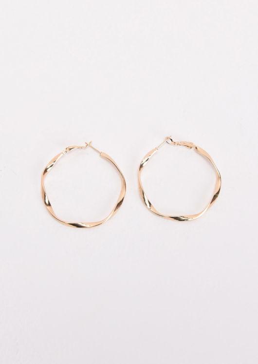 Small Twist Thin Hoop Earrings Gold