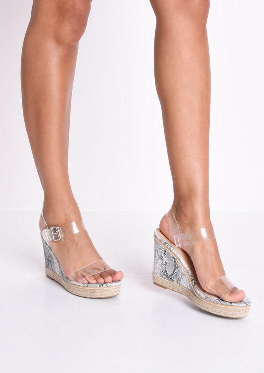 Snakeskin Print Perspex Platform Espadrille Wedge Sandals Multi